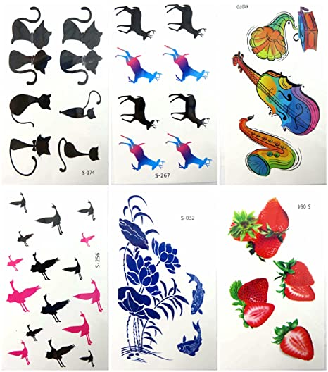 Amazon.com: 6 sheets temporary tattoo stickers hipster vintage: Clothing