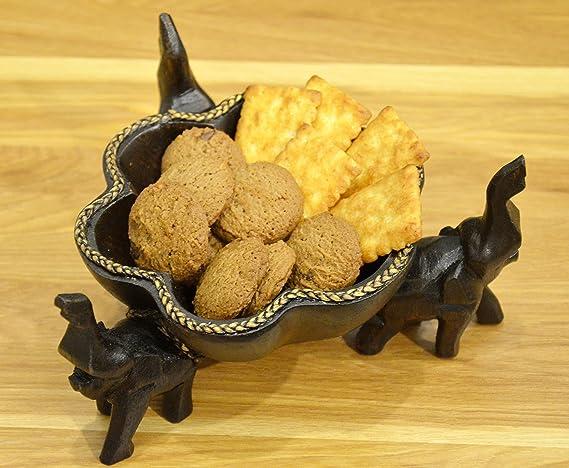 Thai elefantes madera tallada Candy Cookies cuenco soporte Countertop comedor Spa restaurante decoración del hogar: Amazon.es: Hogar