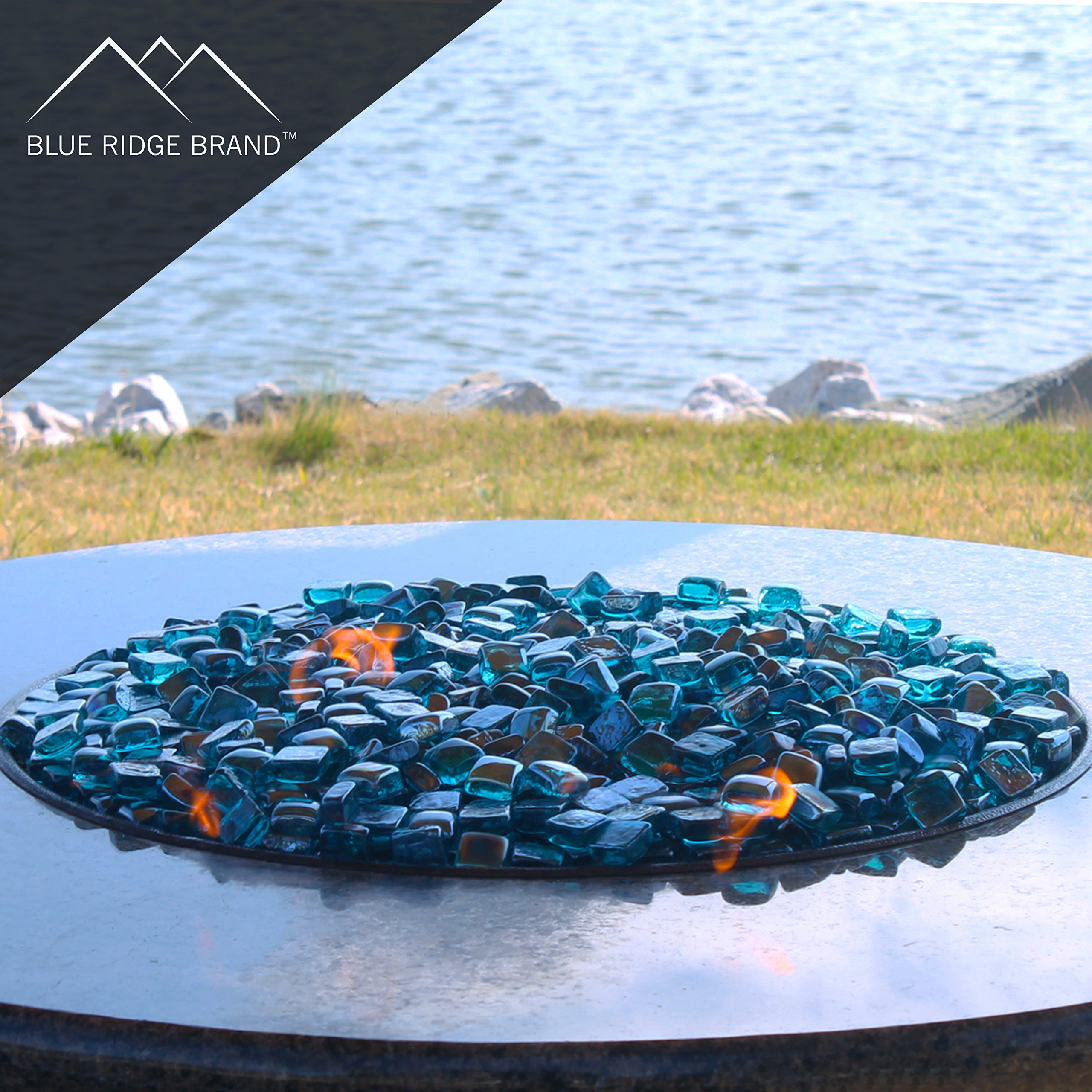 Blue Ridge Brand trade; Aqua Reflective Fire Glass Cubes - 20-Pound Professional Grade Fire Pit Glass - 3/4'' Reflective Glass for Fire Pit and Landscaping by Blue Ridge Brand (Image #4)