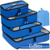 Evatex Packing Cubes | Travel Packing Cubes, 6pc Set with Shoe Bag |Laundry Bag (Blue)