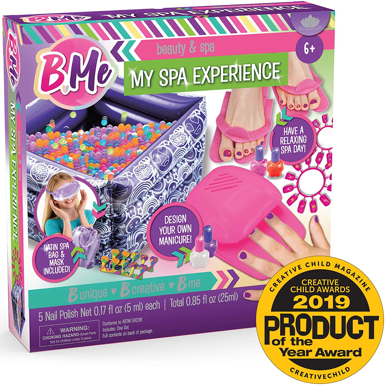 B Me My Spa Experience – Ultimate Kids Spa Kit w/ Nail Polish, Press On Nails, Nail Dryer, Stickers, Decals, Pedicure Pool, Bath Beads