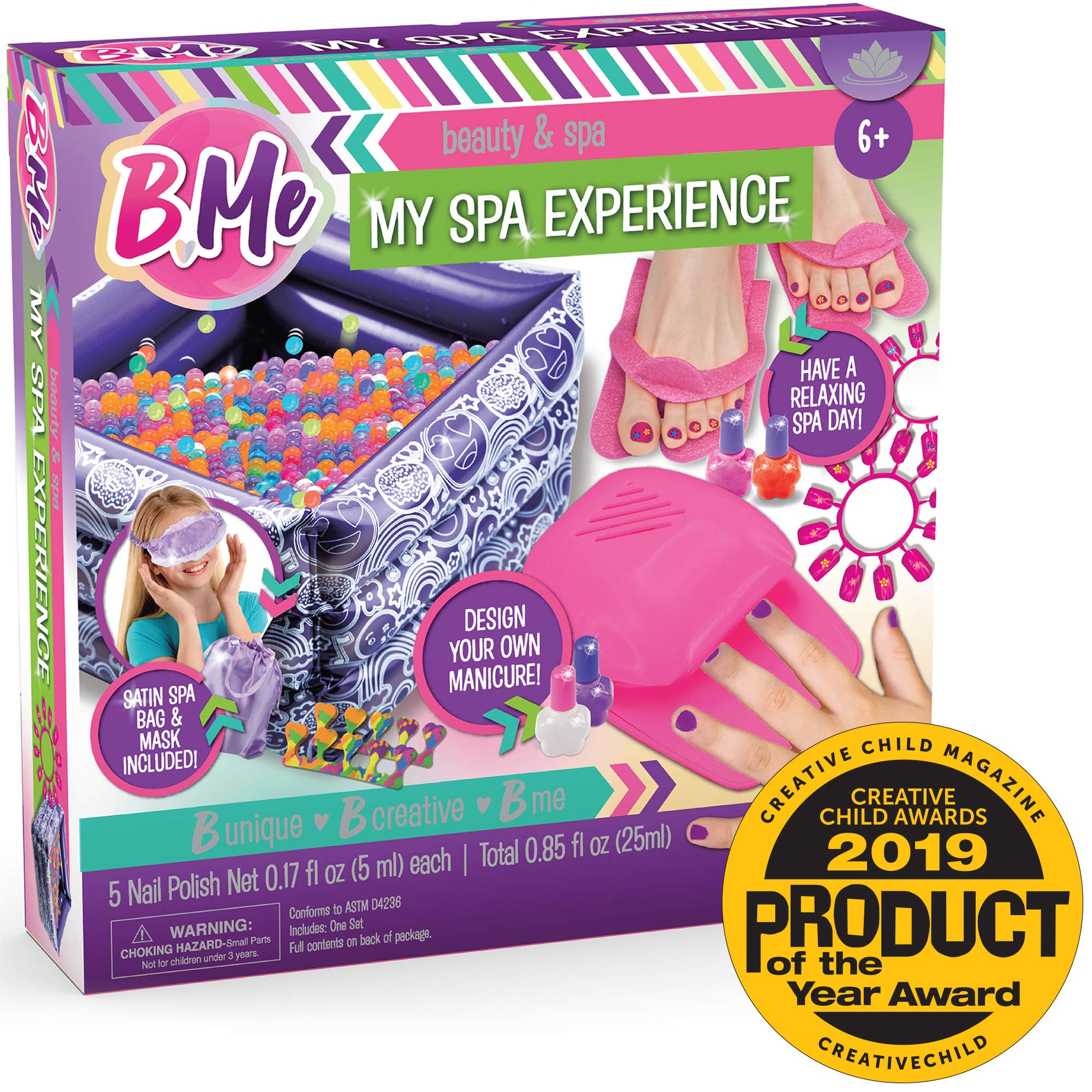 B Me My Spa Experience - Ultimate Kids Spa Kit w/ Nail Polish, Press On Nails, Nail Dryer, Stickers, Decals, Pedicure Pool, Bath Beads, Mask, Slippers, Satin Storage Bag & More - Amazon Exclusive by B Me