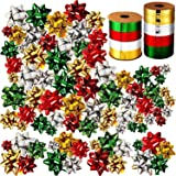 60 Pieces Christmas Wrap Bows Self Adhesive Metallic Gift Bows and 131 Feet Christmas Curling Ribbons for Xmas Party Favor