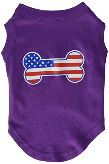 Mirage Pet Products Bone Shaped American Flag Screen Print Shirt Medium Purple