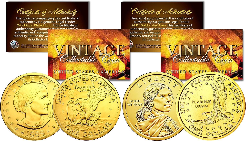 Dollar History Women 2-Coin Set Sacagawea /& Susan B Anthony 24K Gold Plated U.S