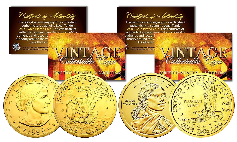 Sacagawea /& Susan B Anthony 24K Gold Plated U.S Dollar History Women 2-Coin Set