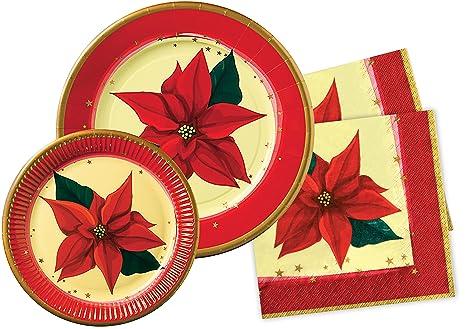 Stella Di Carta Natale.Ciao Y4389 Kit Party Tavola Natale Stella Di Natale Per 30 Persone 10 Piatti Carta O28cm 30 Piatti Carta O23cm 40 Tovaglioli Carta 33x33cm