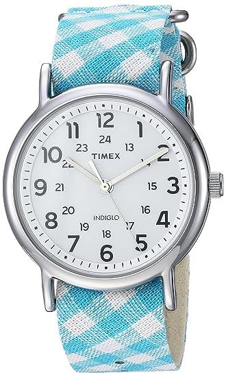 7acd0adb5a7d Timex Women s TW2R24400 Weekender Teal Gingham Nylon Slip-Thru Strap Watch