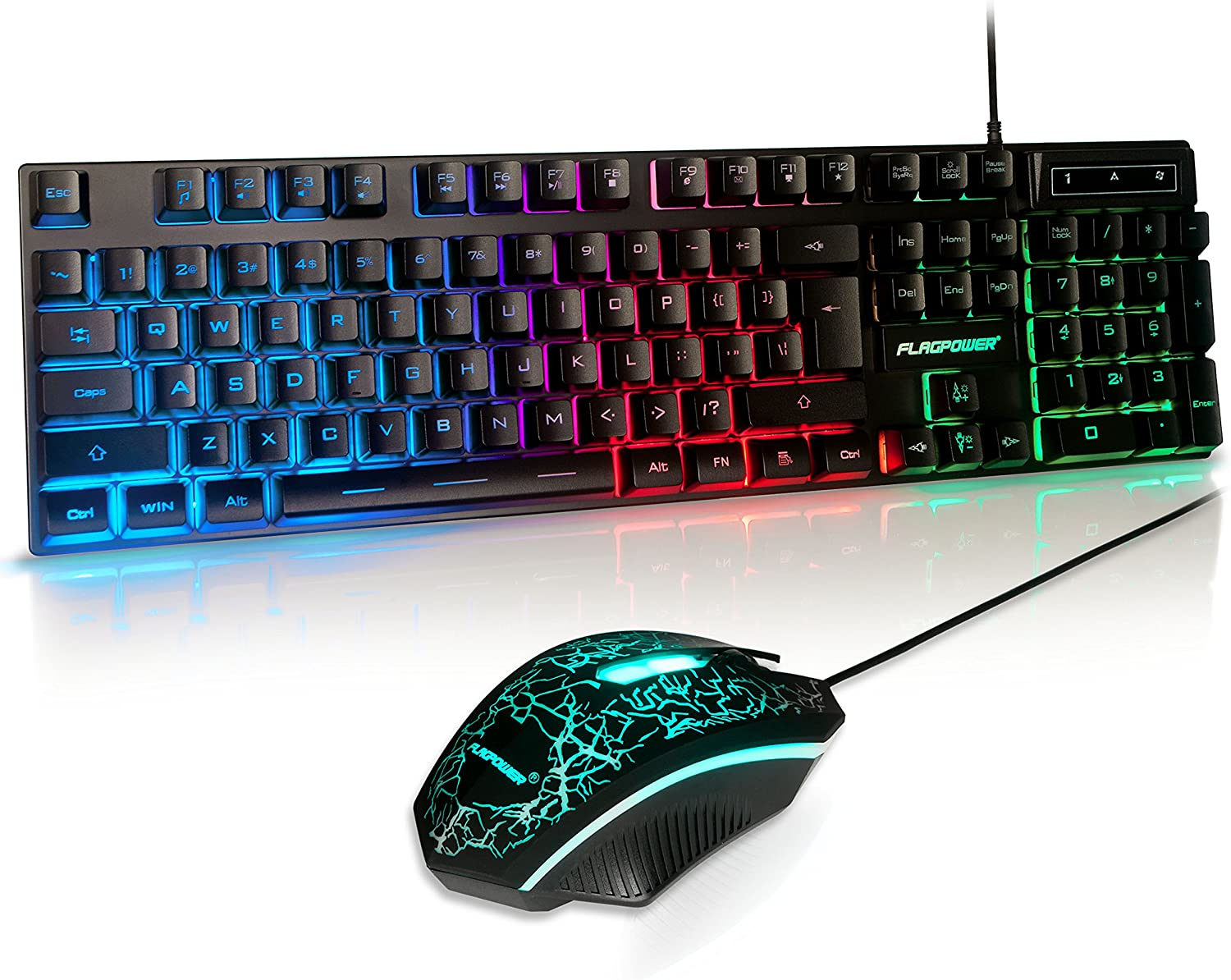 (Upgrade Version) FLAGPOWER LED Backlit Wired Gaming Keyboard and Mouse Combo, Mechanical Feeling Rainbow LED Backlight Keyboard with 3200DPI Adjustable USB Mice for PC/laptop/MAC/win7/win8/win10