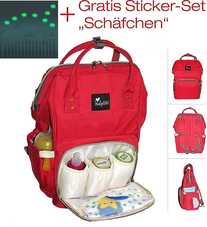 babyday® Mochila para pañales Rojo + Gratis: adhesivo Bombilla de ovejas (9 Pegatina por 9 x 6,5 cm):: Colección 2018/2019:: La original bolso cambiador ...