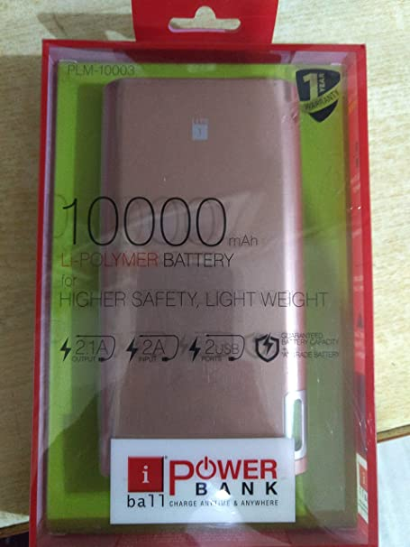 iBall 10000mAh Polymer Lightweight Power Bank with 2 USB Port   Rose Gold Power Banks