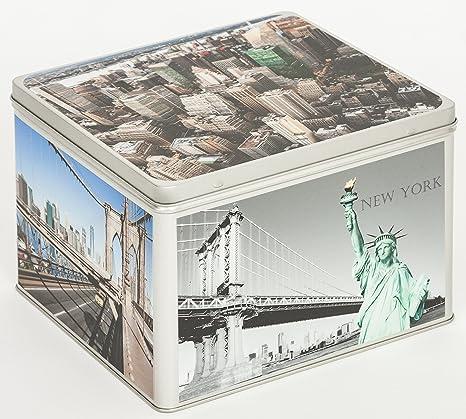 Álbum de fotos Metal – Lata Caja Almacenaje Caja Bote para galletas diseño Estados Unidos New York: Amazon.es: Bebé