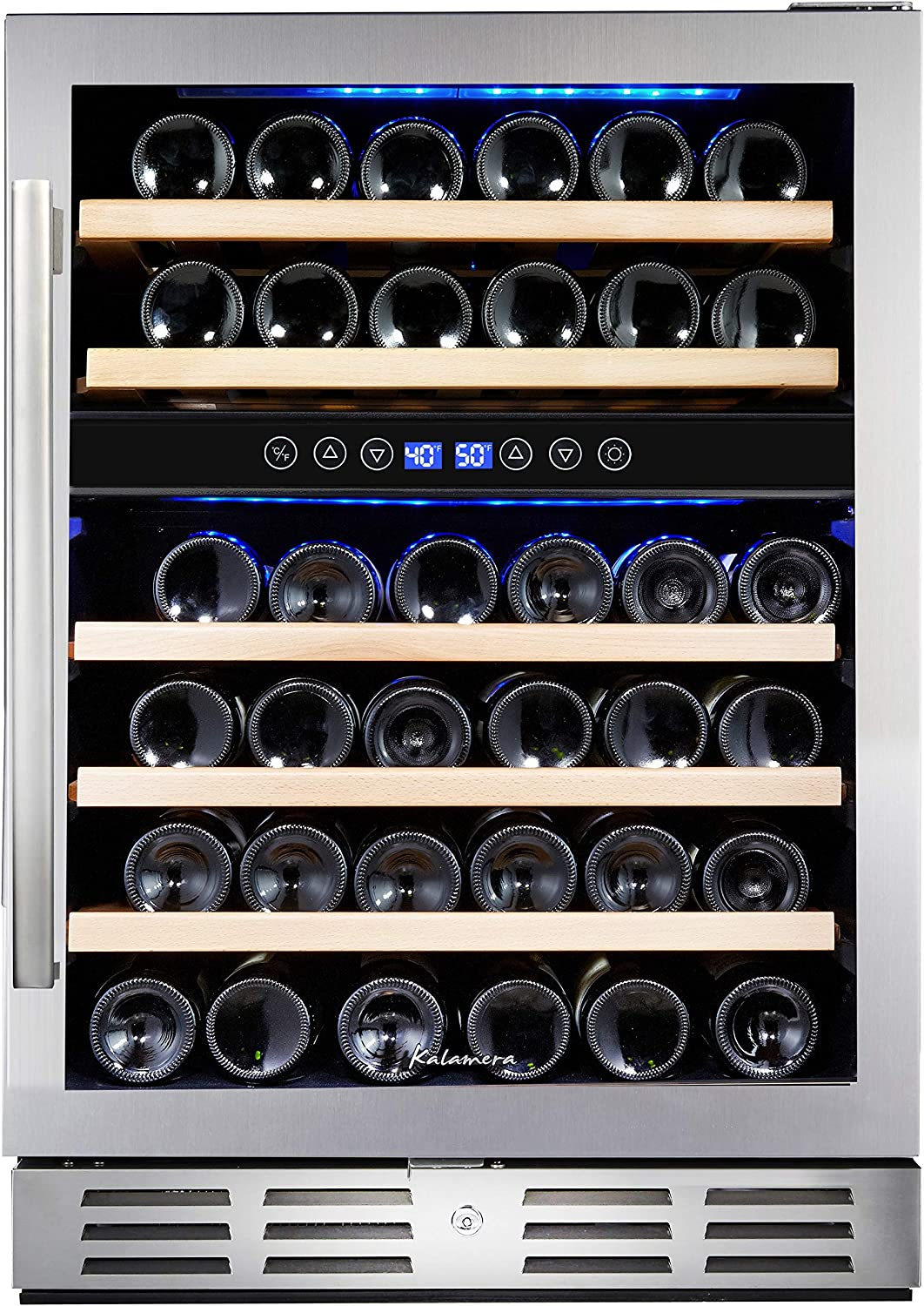 Kalamera 46 Bottle Dual Zone 24'' Built-in or Freestanding Wine Cooler/Refrigerator With Seamless Stainless Steel & Double-Layer Tempered Glass Door and Temperature Memory Function