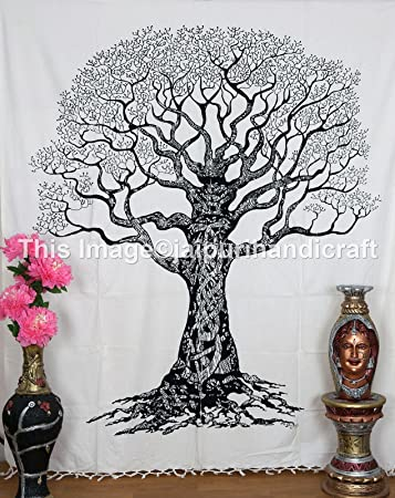 White U0026 Black Tree Tapestry,tree Of Life Tapestry,tree Of Life Wall Hanging