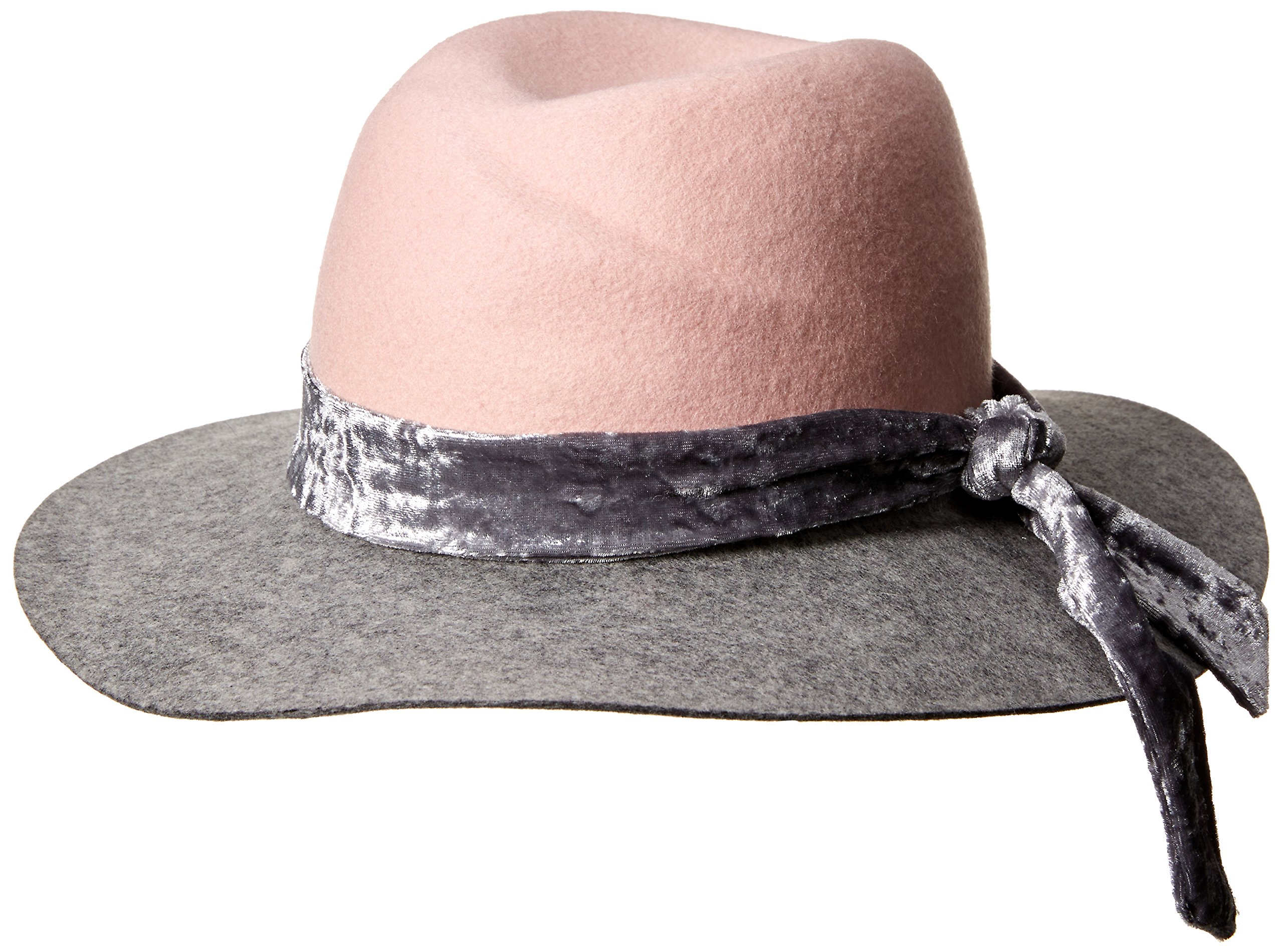 Orchid Row Women's Fashion Ranger Hat with Velvet Band Grey/Pink O/S