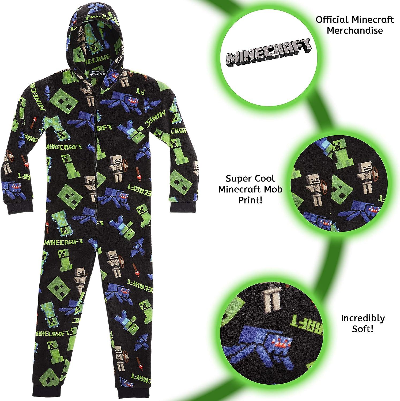 Minecraft Onesie for Boys, Kids Pyjamas All in One, Children Pj Jumpsuit,  Super Soft Hooded Onesies, Gaming Sleepsuit Sleepwear for Kids, Gifts for