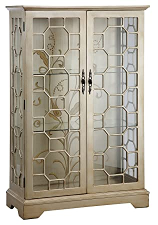 Stein World Furniture Diana Display Cabinet Silver Gold