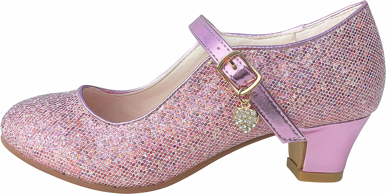 Childs Size 9 UK - Inside 17 cm La Senorita Spanish Flamenco Shoes pink glittering heart Elsa Frozen Princess heels dress up