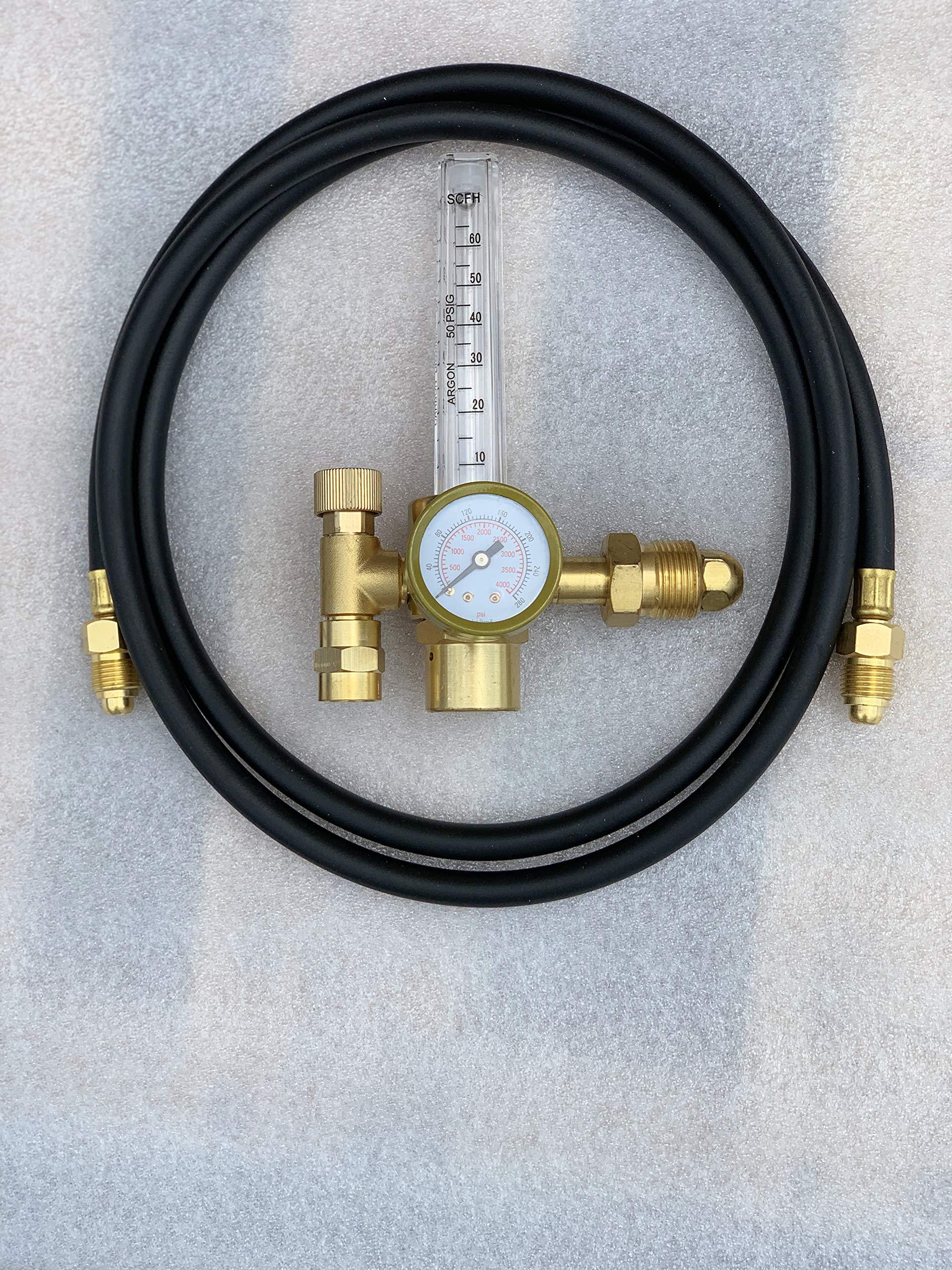 Argon Regulator TIG Welder MIG Welding CO2 Flowmeter 10 to 60 CFH - 0 to 4000 psi pressure gauge CGA580 inlet Connection Gas Welder Welding Regulator More Accurate Gas Metering For Gas Delivery System by Masterweld