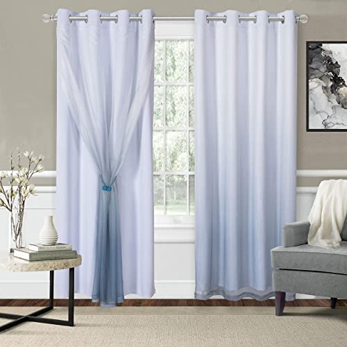 WONTEX Mix Match Blackout and Sheer Ombre Curtains