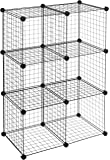 AmazonBasics 6 Cube Grid Wire Storage Shelves, Black