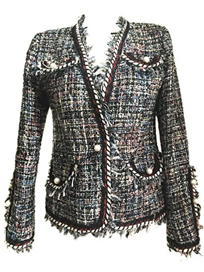 7f781ca582f GirlFrienMaterial Ladies' Tweed Jacket Women Faux Pearl Double Breasted  Long Sleeves Blazer Chanelly Top GFmaterial