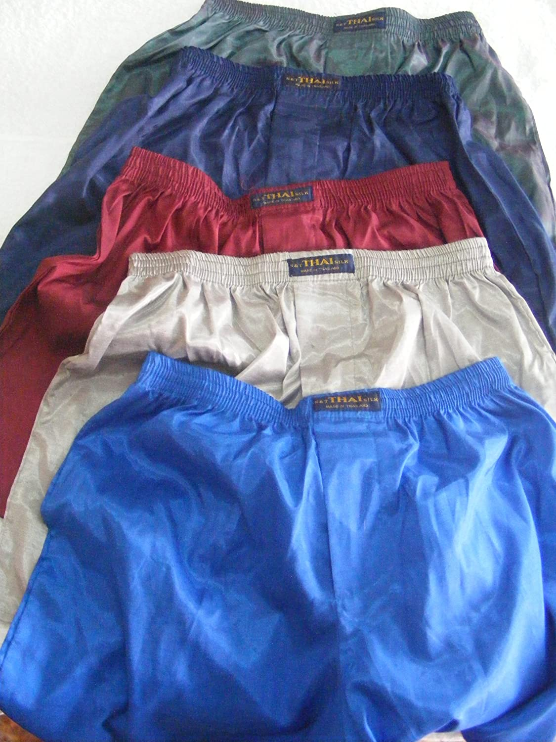Red Solid Color//No Design 100/% Thai Silk Boxer Shorts SIZE 31-33