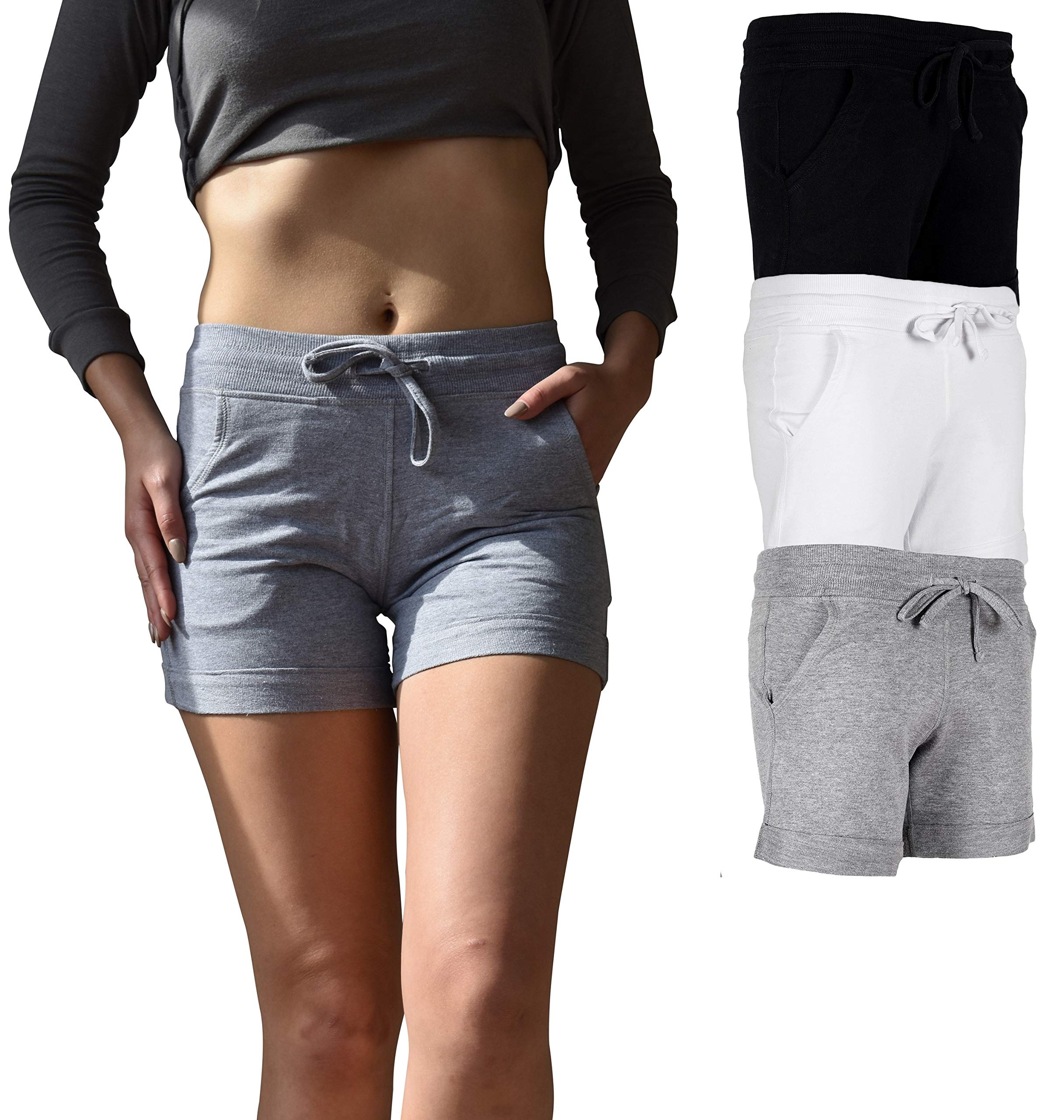 Sexy Basics Women's 3 Pack Active Wear Lounge Yoga Gym Casual Sport Shorts (3 Pack-Black/Grey/White, X-Large)