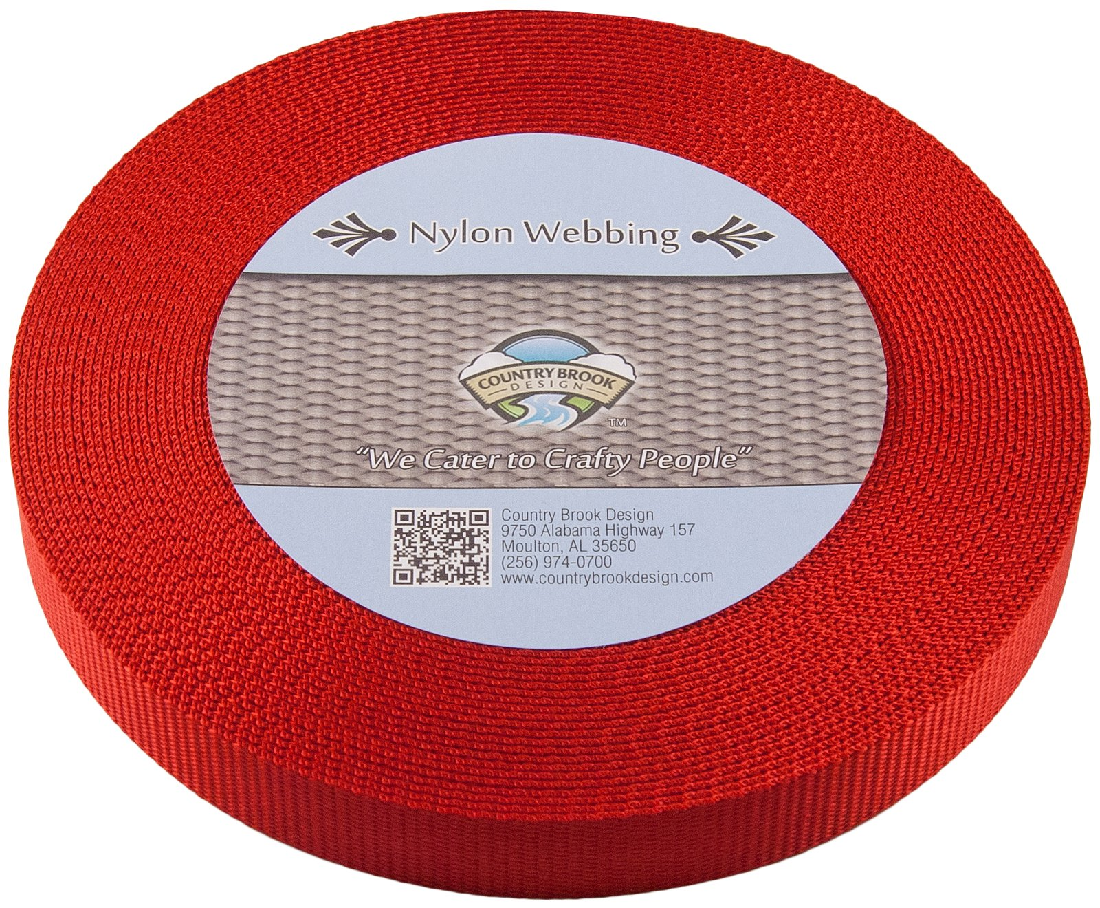 Country Brook Design | Red Heavy Nylon Webbing (1 inch, 10 yards)