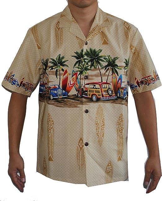 NEW BEIGE WHITE WOODY CARS SURFBOARDS Palm Trees Hawaii Hawaiian Men Aloha Shirt