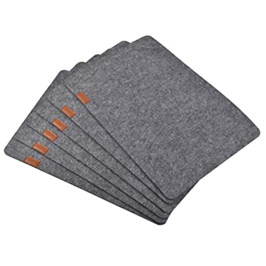 Furnily Felt Placemats Set of 6 Absorbent Table Mats Non Slip Heat Resistant Place Mats for Wood Table(Grey)
