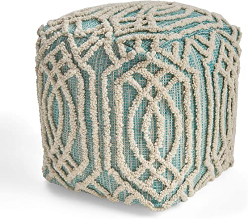 Great Deal Furniture Poppy Boho Wool and Cotton Ottoman Pouf