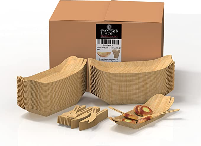 Bamboo wood plates 50 units with forks and knives made of ...