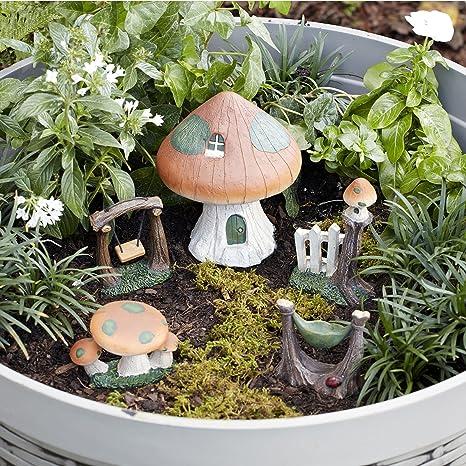 Essential Garden Fairy Garden Kit~ MUSHROOM HOUSE Set ~ 5 Pc Figure Set