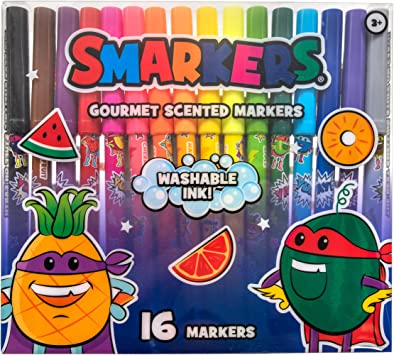 Assorted Colors Smarkers Washable Scented Markers 16 Count by Scentco Standard Point Felt Tip