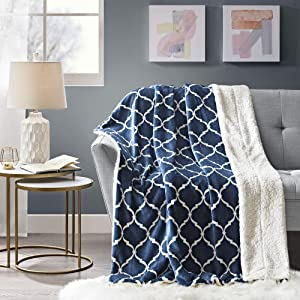 Comfort Spaces Sherpa for Couch and Bed, Plush Fleece Reversible Throw-Blanket with Fuzzy Faux FurThrows, 50x60, Navy Ogee