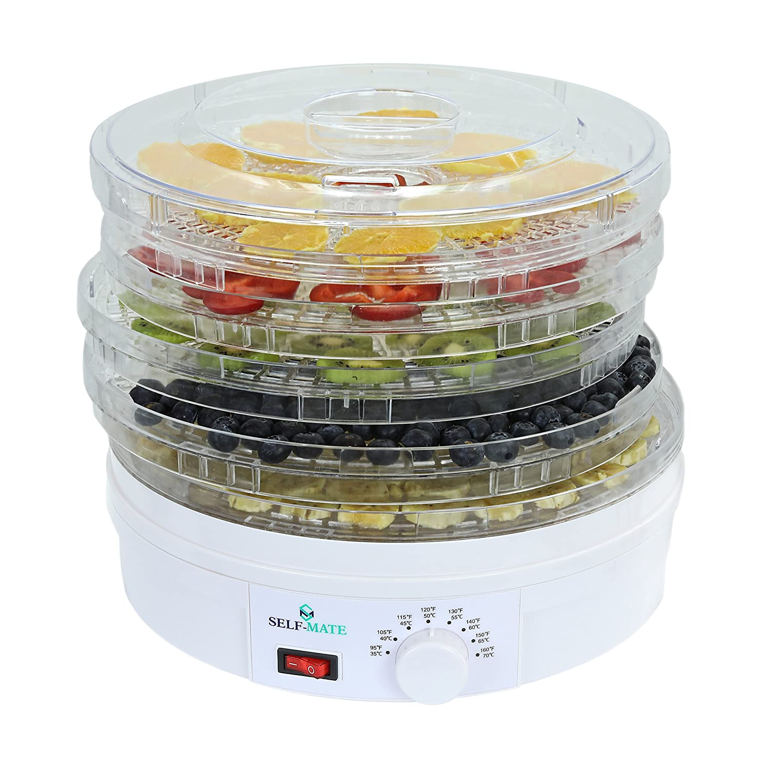 Self-Mate Countertop Premium Food Dehydrator -Stackable Trays, Adjustable Thermostat Advanced Air Flow System -Great for Healthy Snacks, Fruit, Vegetables, Meat, Fish, Jerky Maker – 245Watts ,White