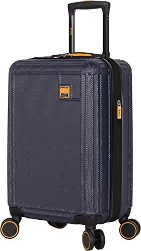 Lucas 20 Inch Carry On Luggage Collection – Expandable Scratch Resistant ABS PC Hardside Suitcase – Designer Lightweight Bag with 8-Rolling Spinner Wheels Blue