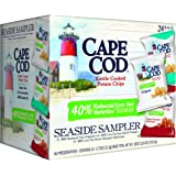 Cape Cod Potato Chips, Reduced Fat Kettle Cooked, Seaside Sampler Variety Pack, 24 Count