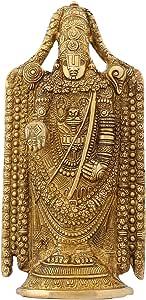 Sculpture for Home Hindu Gifts Balaji Venkateswara Religious Items Brass 9.5 Inch- 2.1 kg