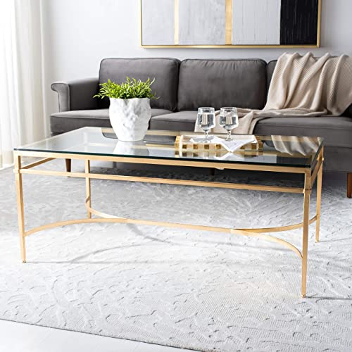 Safavieh American Homes Collection Abelard Antique Gold Glass Couture Cocktail Table