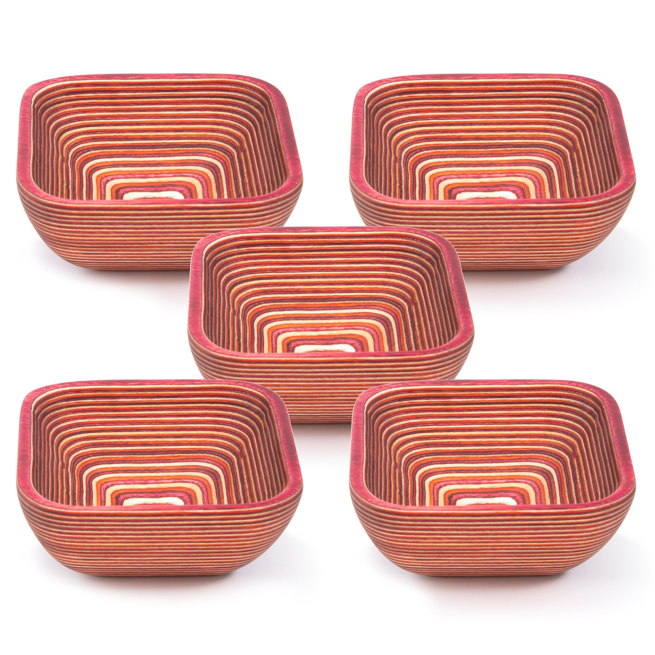 Exotic PakkaWood Condiment Bowls Set - 5 Stacking Square Bowls for Condiments, Snacks, and More by Crate Collective (Sunrise)