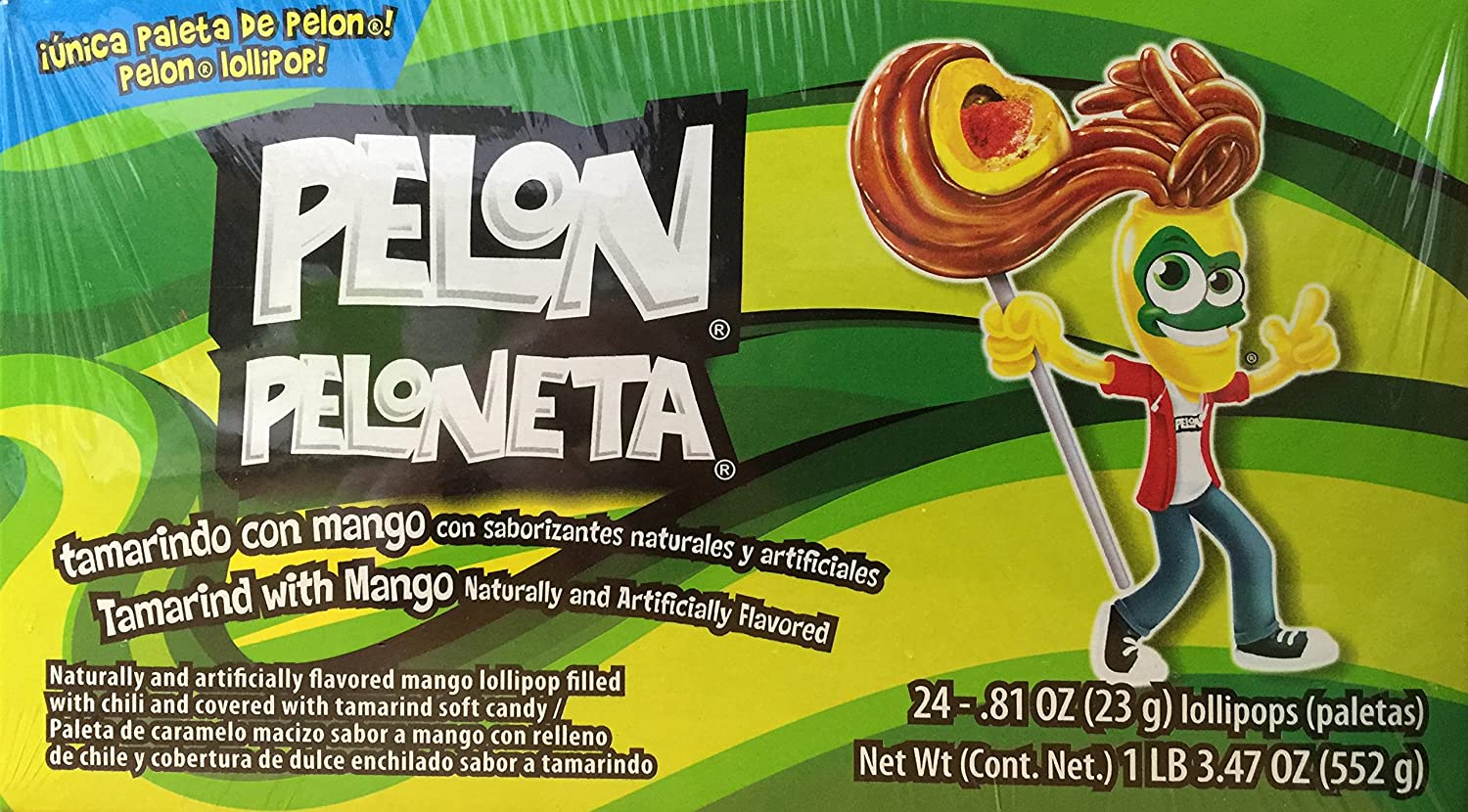 Pelon Peloneta Tamarind with Mango Lollipop, 24 Count