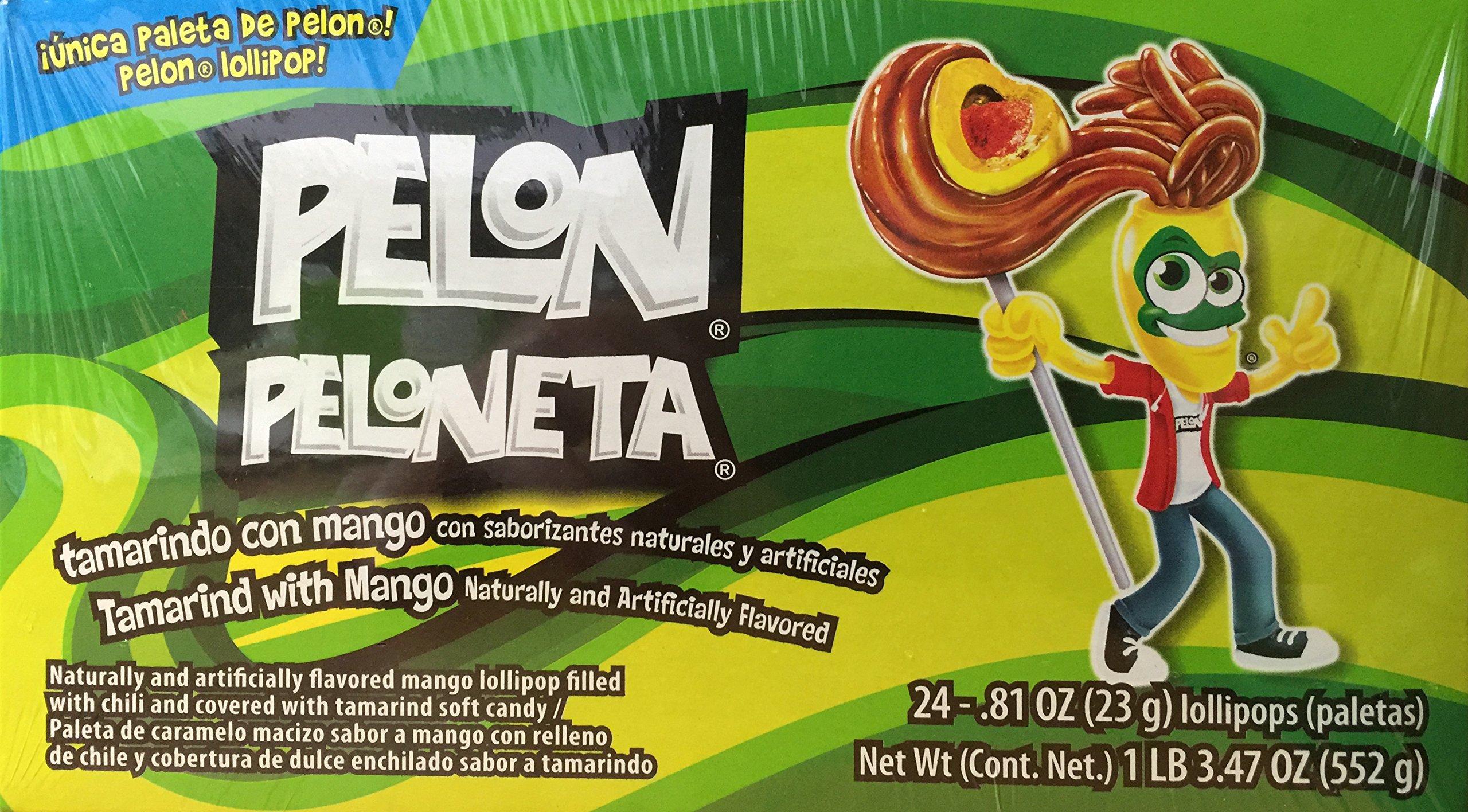 Pelon Peloneta Tamarind with Mango Lollipop, 24 Count
