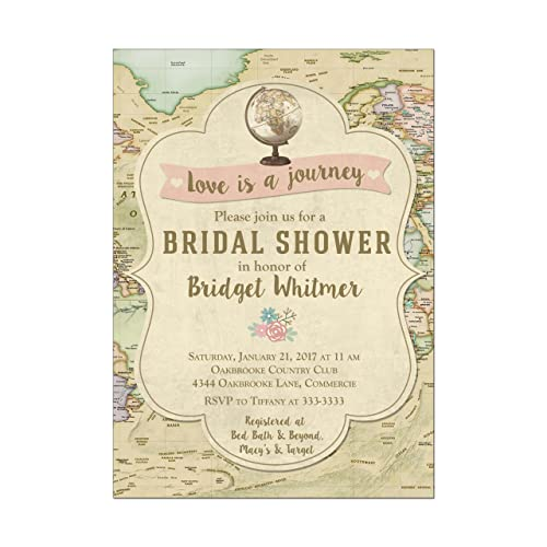 travel globe and map bridal shower invitations set of 10 invitations with white envelopes