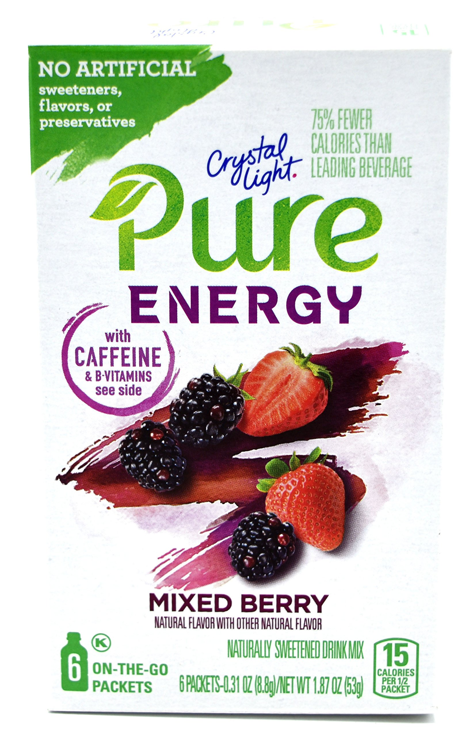 Crystal Light Pure Energy Mixed Berry On The Go Drink Mix, 6-Packet Box (10 Box Pack)