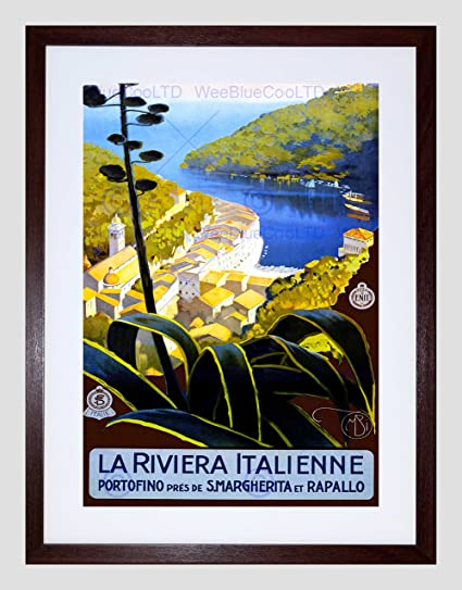 VINTAGE TRAVEL LA RIVIERA ITALIENNE NEW BLACK FRAMED ART PRINT PICTURE B12X11921