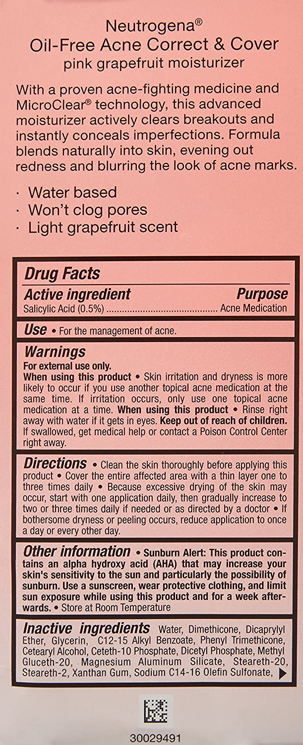 Oil-Free Acne Correct & Cover Pink Grapefruit Moisturizer by Neutrogena #17