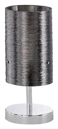 Stoffschirm weiß Chrom E14 Höhe 30cm TRIO Tischlampe TOUCH-ME