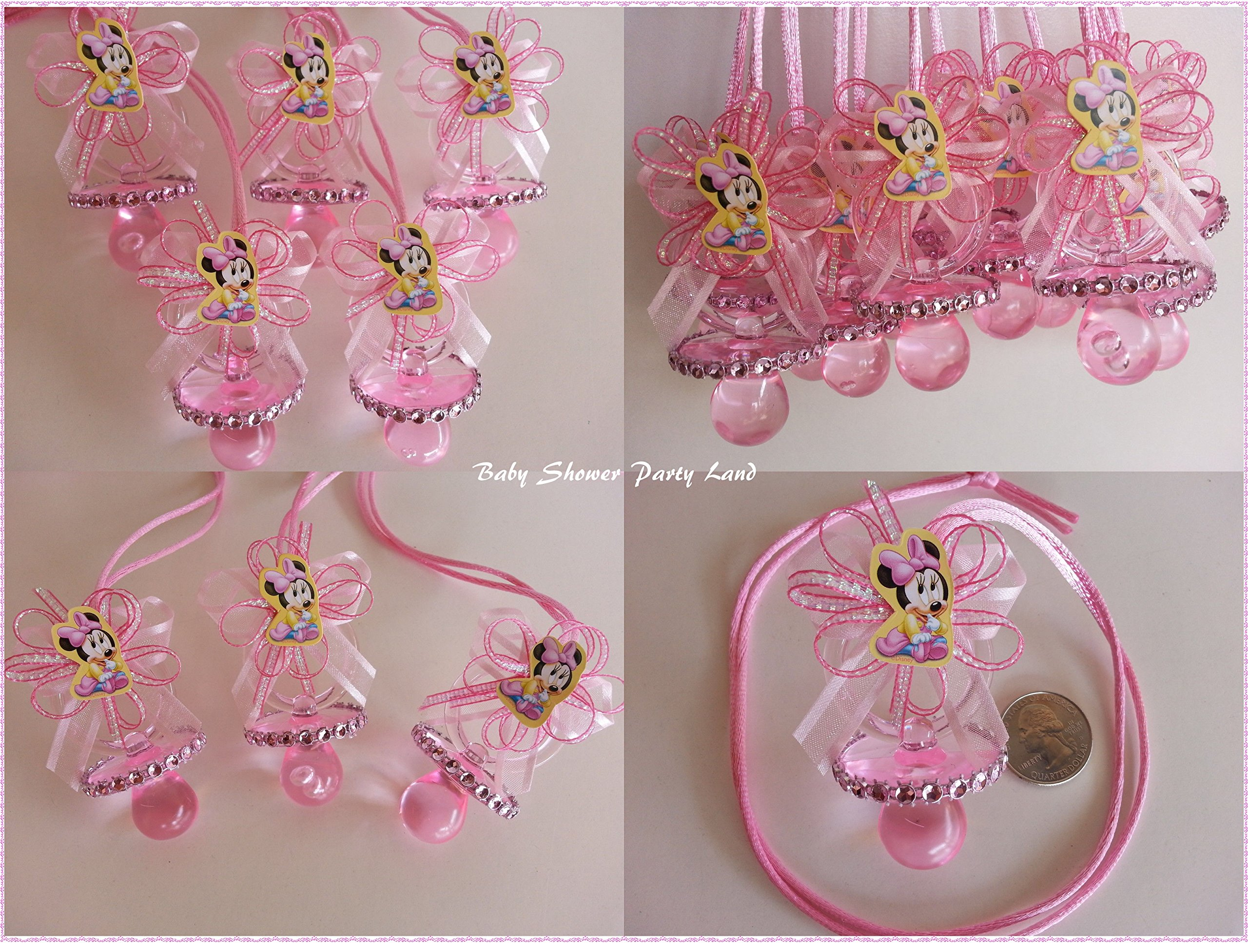 Amazon.com: Minnie Mouse Baby 12 Pink Pacifier Necklaces Baby Shower Game  Favors Prize Girl Decor: Health & Personal Care